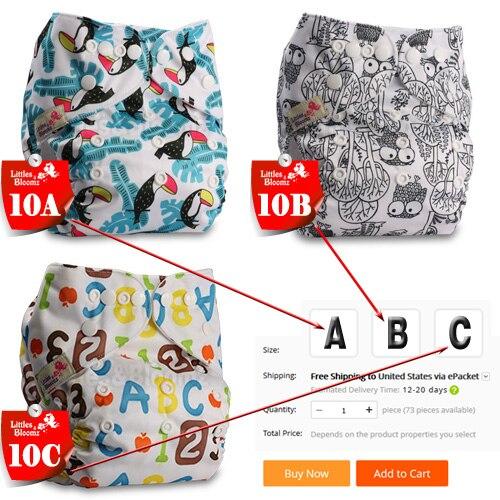 [Littles& Bloomz] Детские Моющиеся Многоразовые Тканевые карманные подгузники, выберите A1/B1/C1 из фото, только подгузники/подгузники(без вставки - Цвет: 10