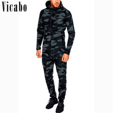 f5f1e15df8f Vicabo Two Piece Set Men Romper Tracksuit Camouflage Hip Hop Hoodies  Sporting Jogger Sweat Suits Men