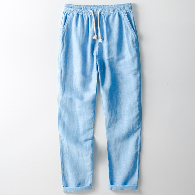 Men Summer Fashion Brand China Style Vintage Simple Cotton Linen Pants Male Casual Loose Solid Color Pants Straight Trousers