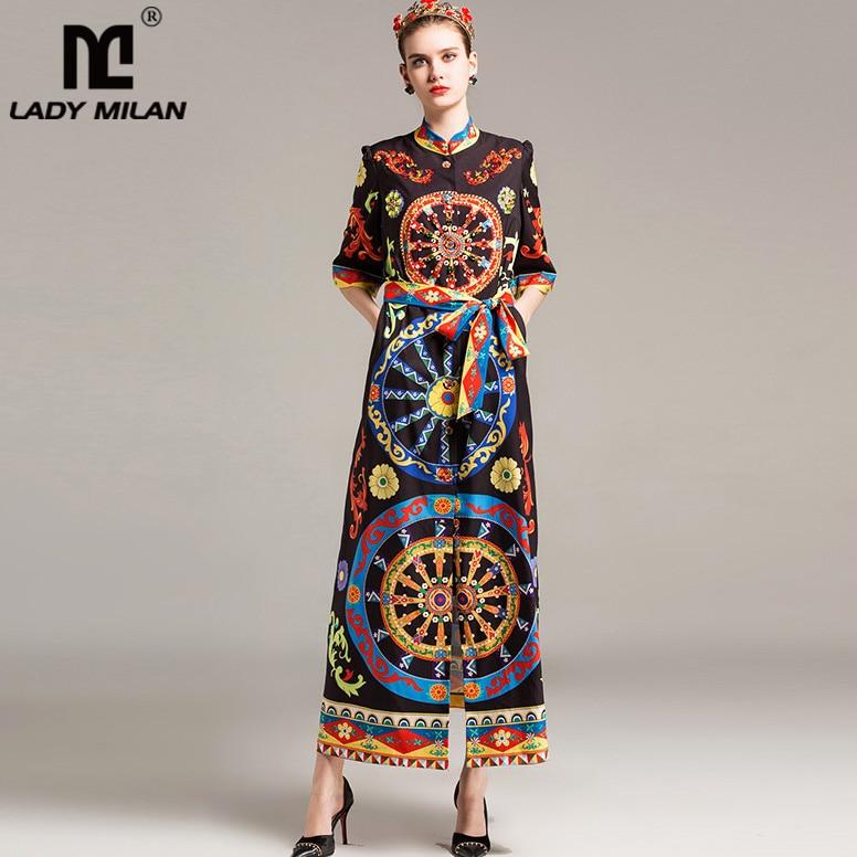 New Arrival 2018 Womens Stand Collar 3/4 Sleeves Beaded Rhinestones Printed Vintage Loose Design Sash Belt Long Designer Dress