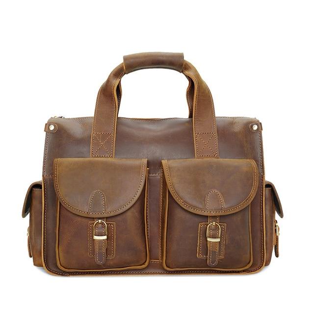 100% Genuine Leather Men Bags Fashion Design Men Handbag Messenger Bags  14inch Real Cow Leather 4a7538001c726
