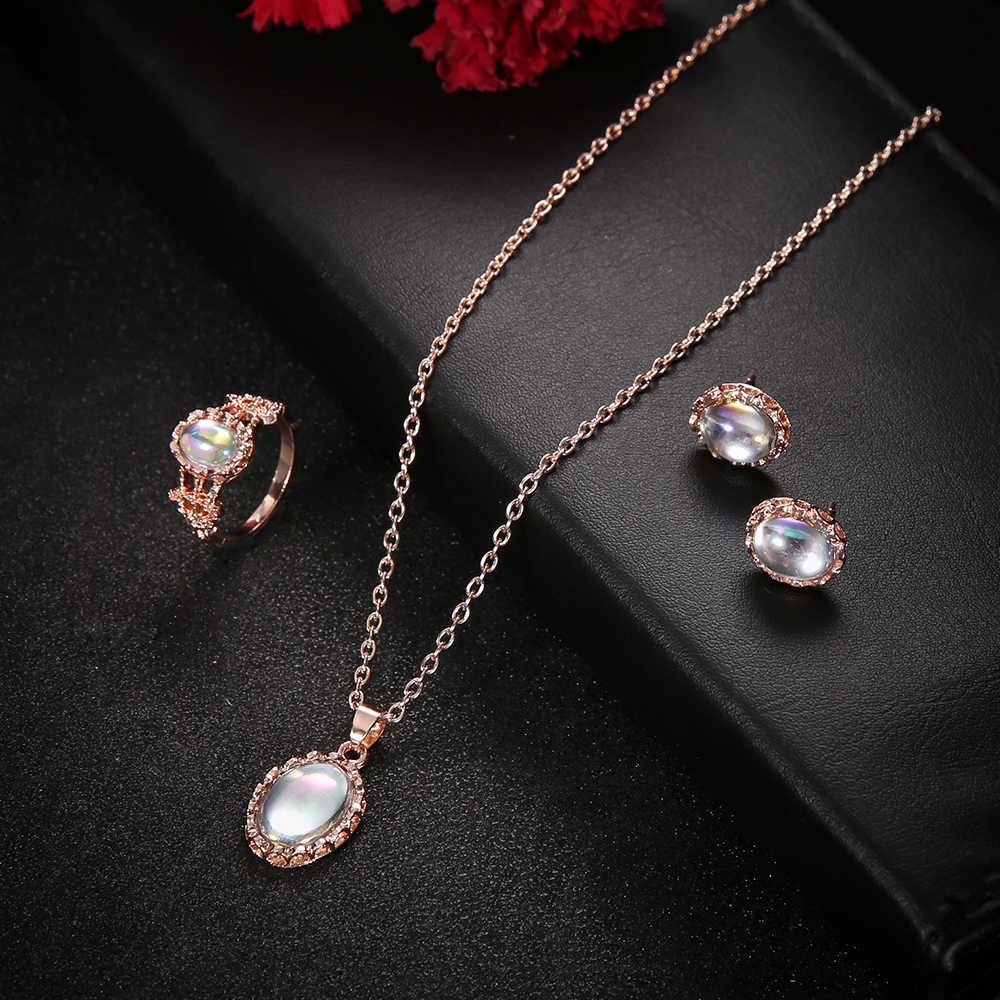 אופנה זהב קריסטל עגילי שרשרת תליון שרשרת תכשיטי סט ריינסטון חדש עגילי טבעות מכירה לוהטת תכשיטי סט מתנה