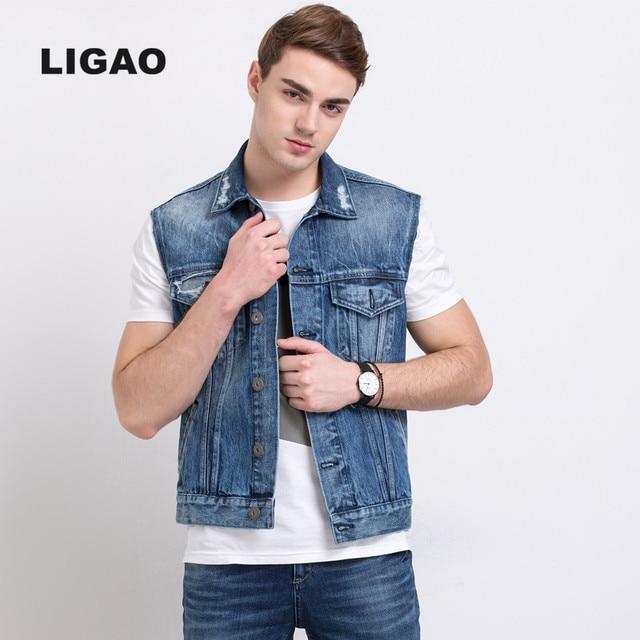 LIGAO 2017 Mens Jean Jacket Vests Cowboy Men Waistcoat Denim Vest coat Jacket Scratched Ripped Hole Vests outwear Plus Size