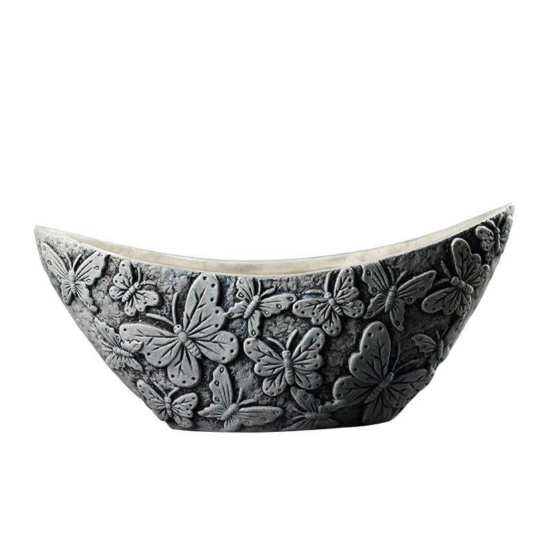 Handmade Concrete Flowerpot Silicone Mold Moon shaped with Butterfly Embossed Cement Planter Mould