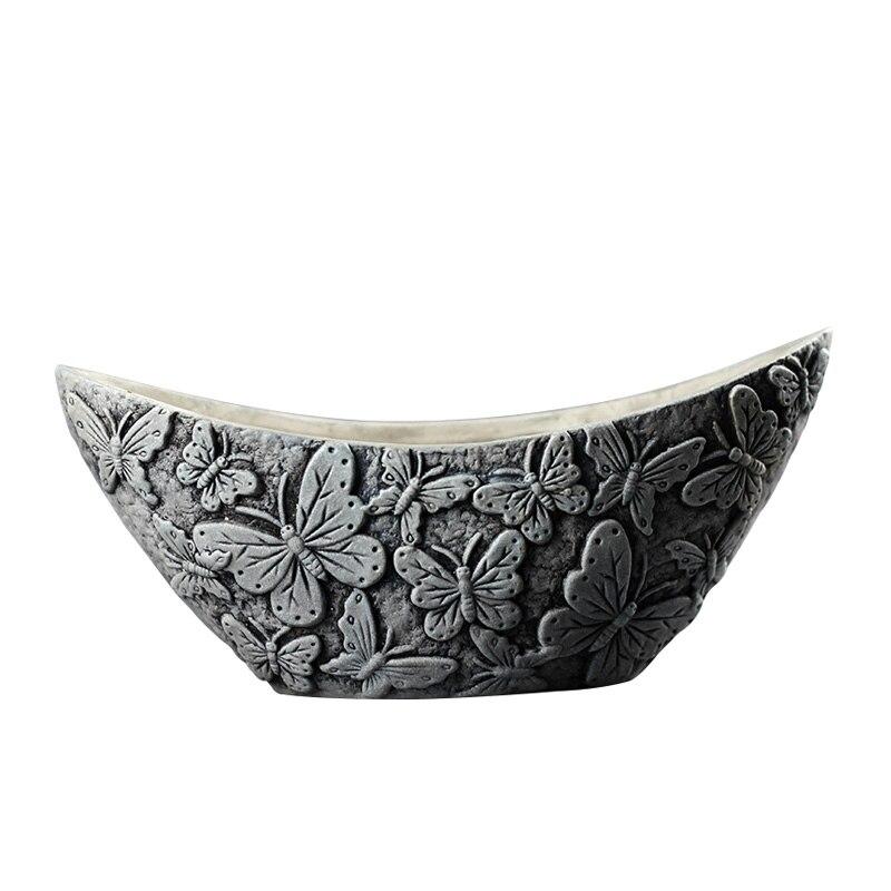 Ручной работы бетонный цветочный горшок силиконовая форма луна-образный с бабочкой тисненая форма для Кашпо из цемента