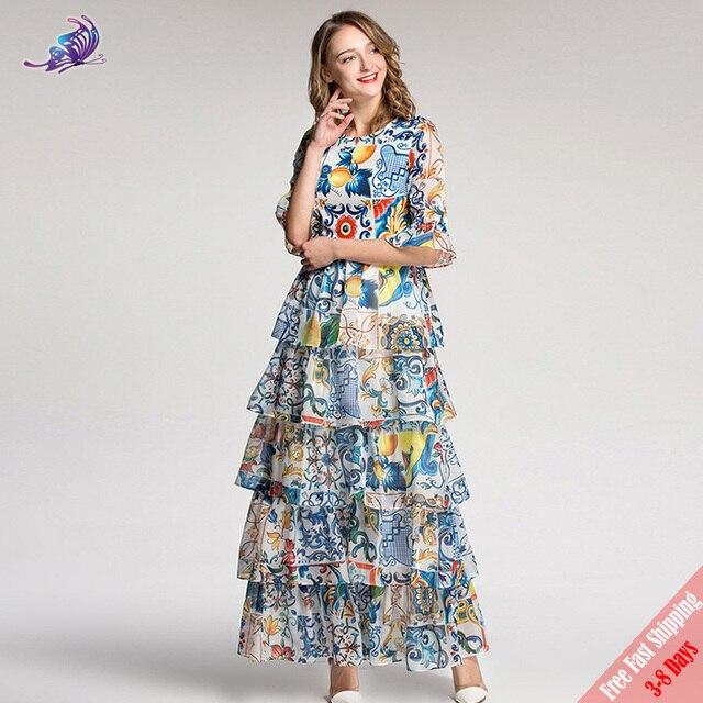 High Quality Fashion Designer Maxi Dress 2018 Women s Summer Elegant Flower  Floral Printed Ruffles Cake Long Dress Free DHL efb24b01e7ae