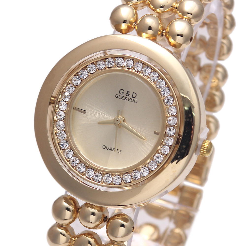 G&D Women's Quartz Wristwatches Stainless Steel Relojes Mujer Fashion Crystal Dress Bracelet Watch Relogio Feminino Gold/Silver