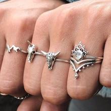 цены RM071 4PCS/SET Bohemian Ring Personality Crown Mountains Animal Unicorn Ox Head Skeleton Ring Rhinestone Rings Set For Women