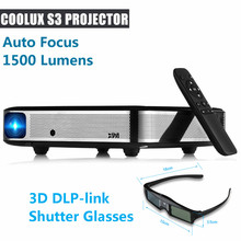 Coolux S3 DLP Projector 3D 1500 Lumens Auto Focus 4K 1-2.5m Home Theater Cortex-A53 1500:1 1280 x 800 Smart Android Projector