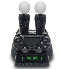 4in1 зарядная док-станция для PS4 контроллер Playstation 4 PS Move PS4 Slim Pro Зарядное устройство Подставка для хранения держатель W/3 USB светодиодный Show
