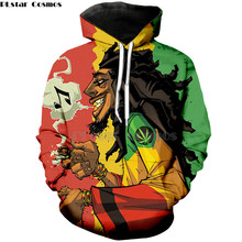 PLstar Cosmos Print 3d kleding herfst hiphop zanger Bob Marley hoodies Harajuku stijl Sweater geel weed Mens Womens- 1(China)