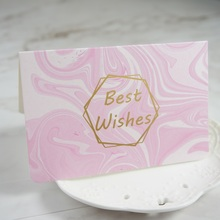 multi-use 25pcs gold fresh pink marble design best wishes Card with envelope Scrapbooking party invitation DIY Decor gift card