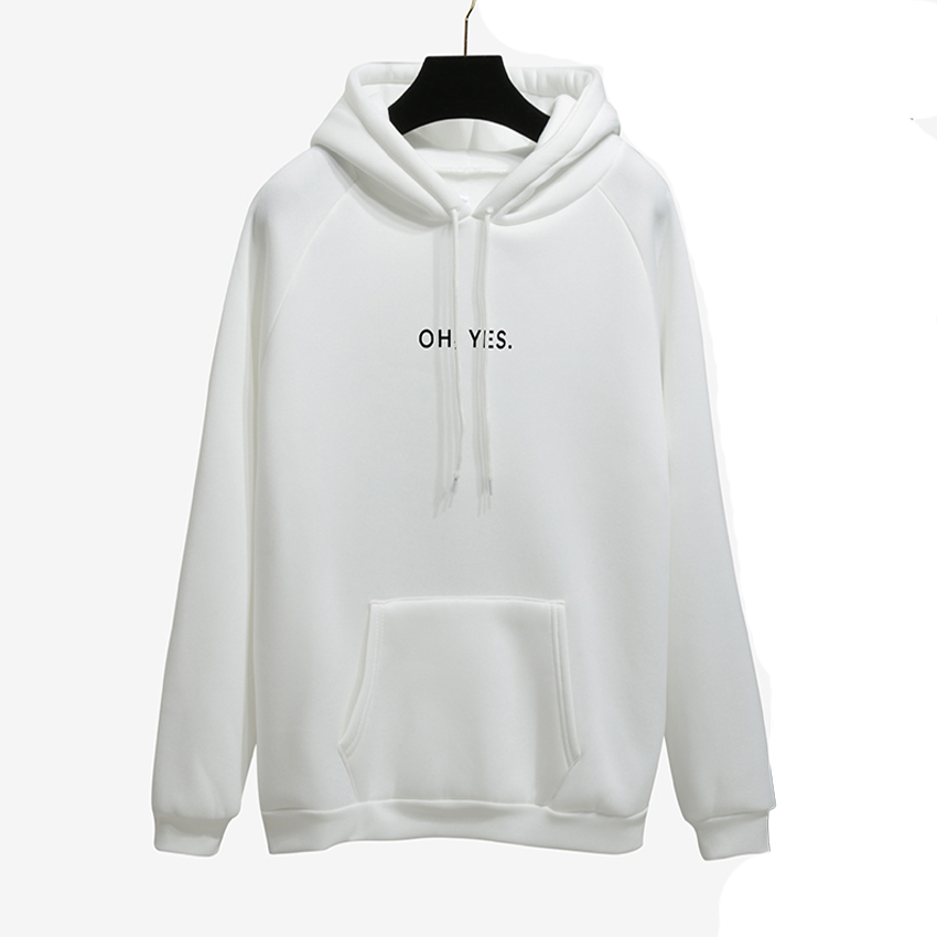 OH YES New Fashion Corduroy Long sleeves Letter Harajuku Print Light pink Pullovers Tops O-neck Women's Hooded sweatshirt tops 17