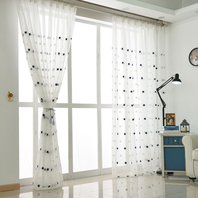 Sheer-Curtains Bedroom Kitchen Tulle Living-Room Star Embroidered White Baby Modern Window