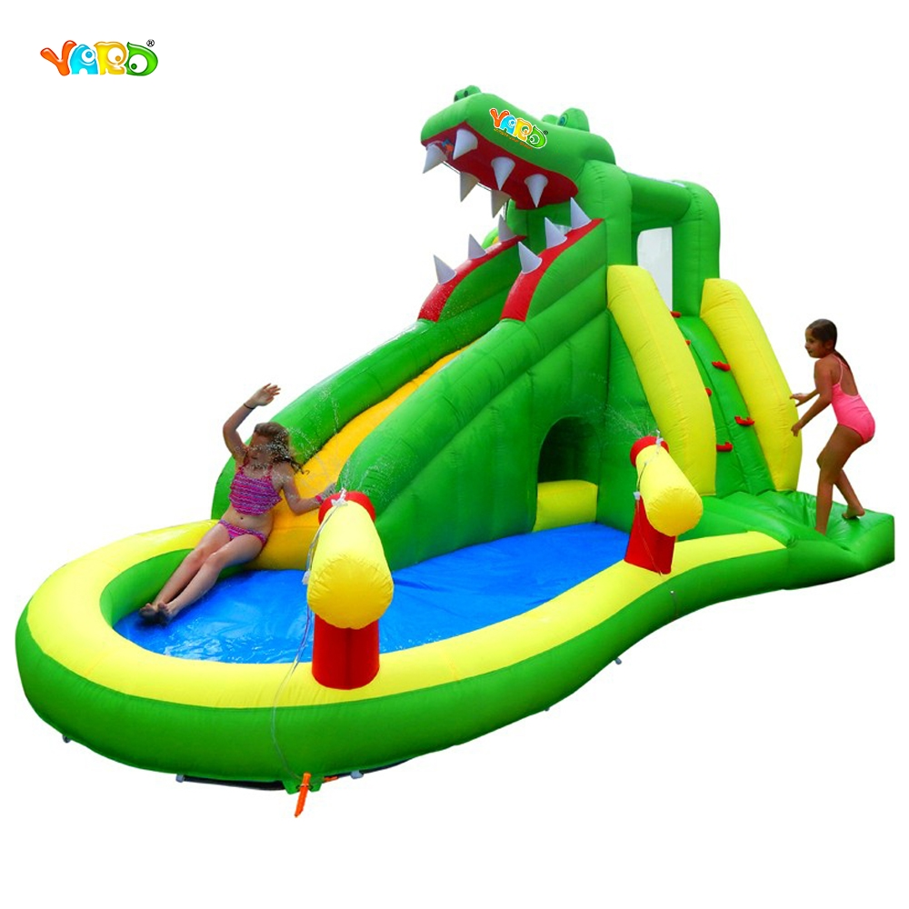 цены  YARD Fedex Free Shipping Crocodile Inflatable Bouncer Bouncy Water Slide with Pool Special Offer For ASIA