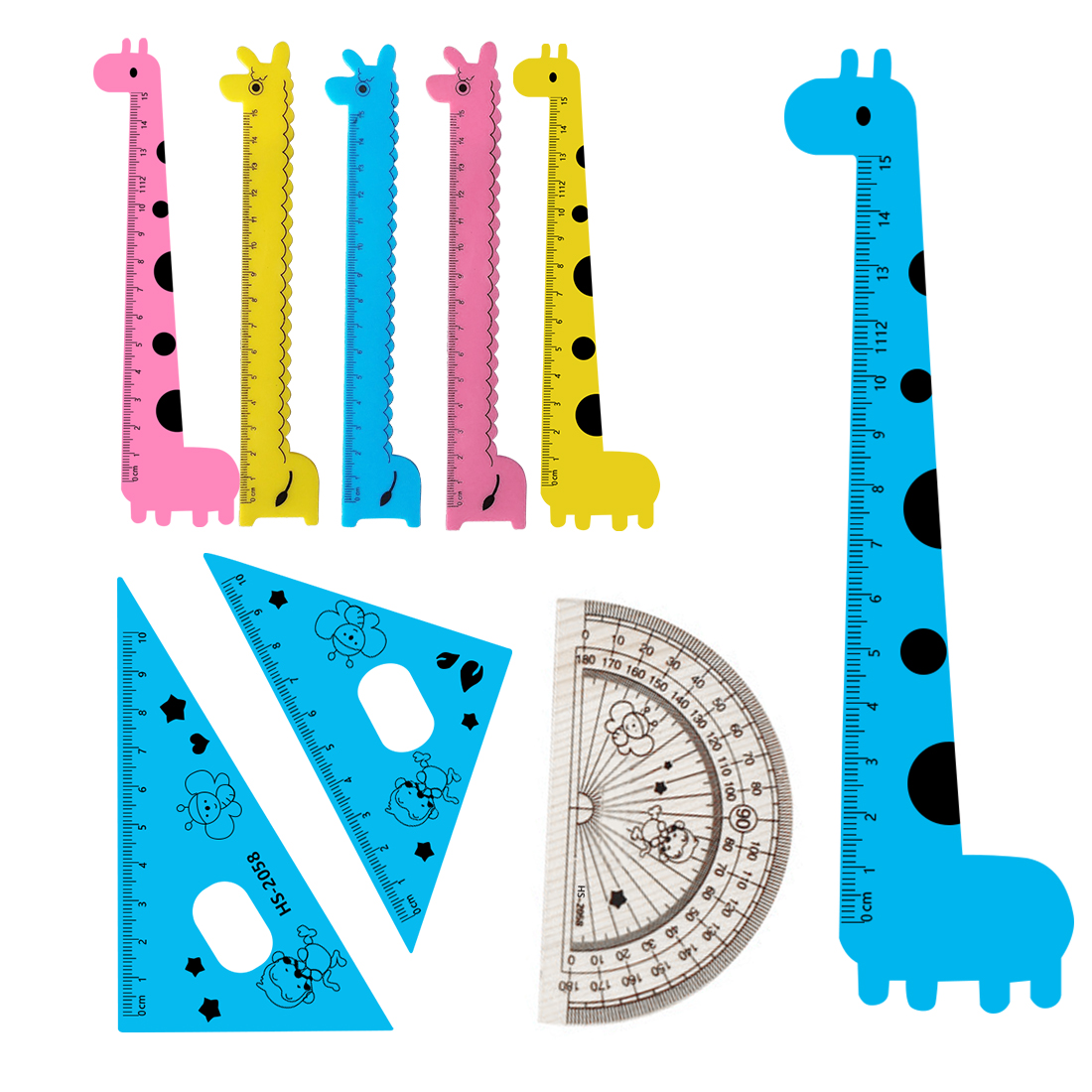 FangNymph Cute Student Kids Drafting Stencil Ruler Cartoon Giraffe Pattern Student Set Ruler Stationery 4PCS Yellow