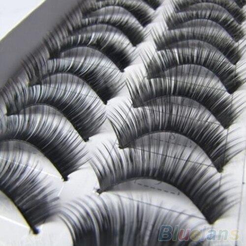 10 pares de maquiagem Handmade Natural grosso cílios postiços cílios extensão