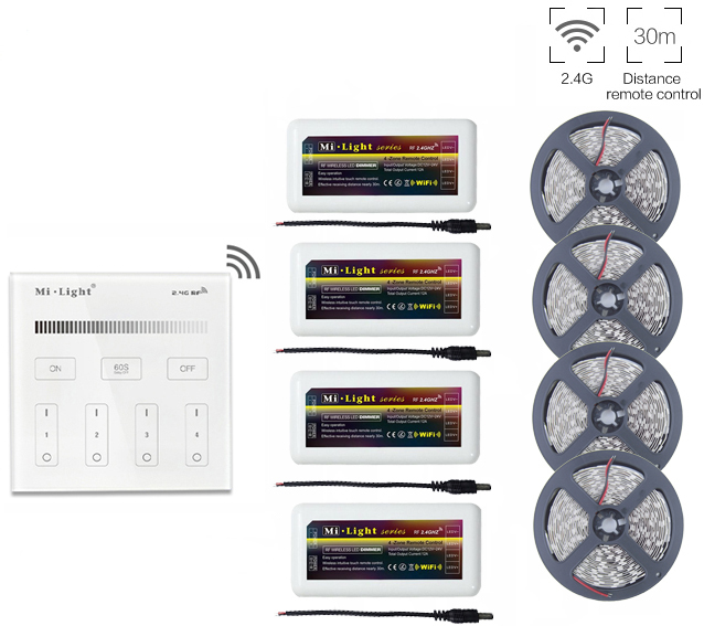 5m/10m/15m/20m 5050SMD Single Color Led Strip DC12V+Mi.light 2.4G Led Dimmer Controller+B1 Wall Mount Smart Touch Panel Remote