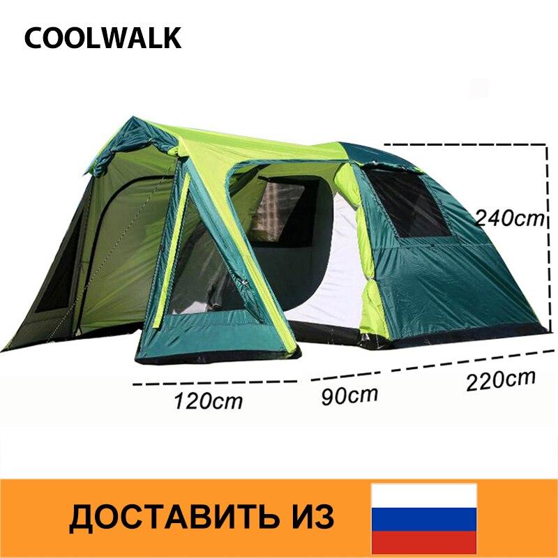 Tienda de campaña RU para excursionismo al aire libre, tiendas familiares de cuatro estaciones, dos puertas, para 3-4 personas, un dormitorio y una sala de estar