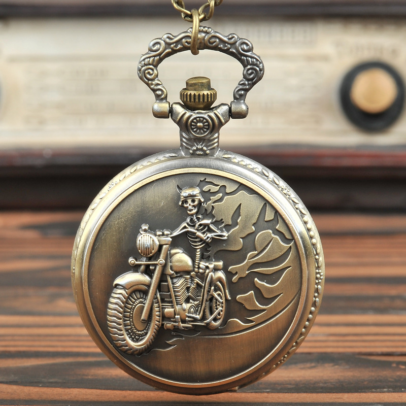 New Design Large Vintage Bronze Creative Motorcycle Retro Best Gift Pocket Watch With Waist Chain