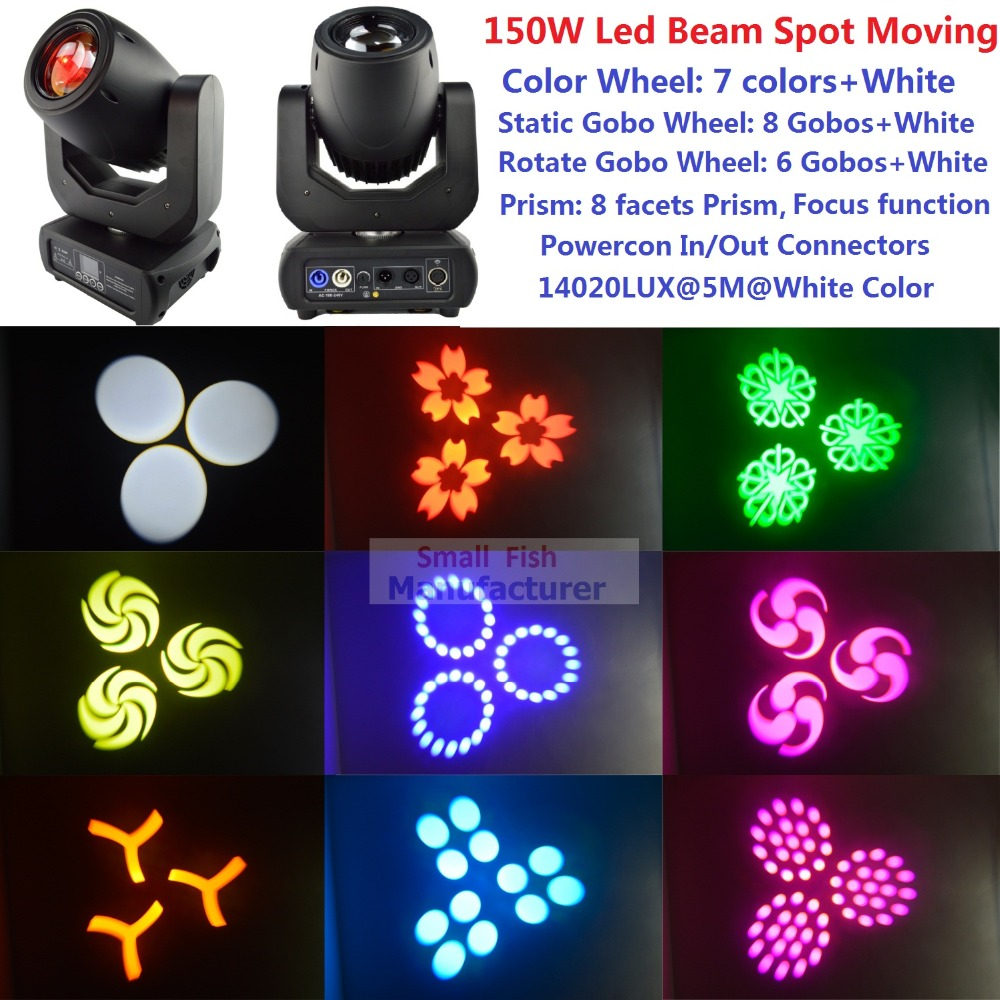 Free Shipping 150W White Lamp LED Spot Moving Head Light DMX DJ Disco Party Show Wash Beam Professional Stage Lighting Effect