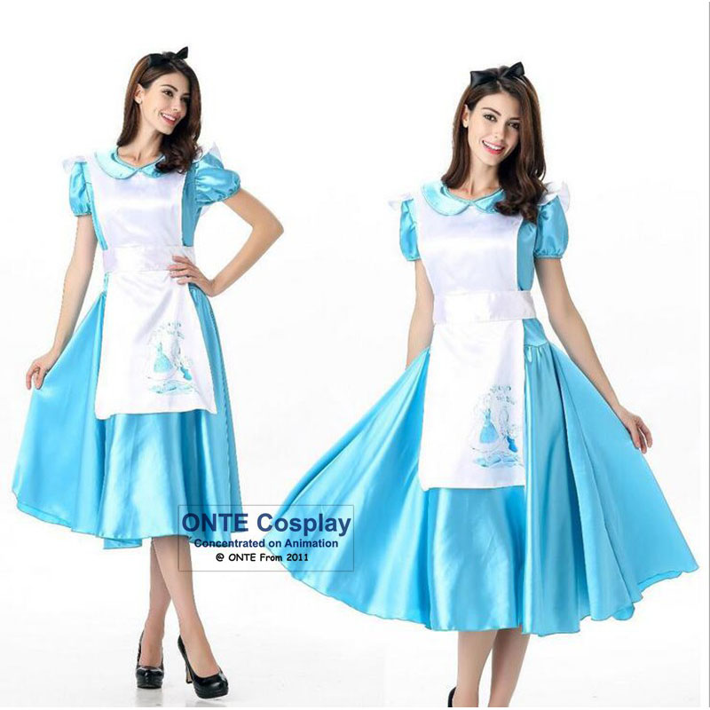 Hot Anime Alice In Wonderland Cosplay Costumes Alice Women Fancy Party Maid Dress Blue for Halloween