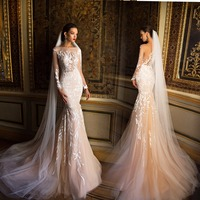 2017 Mermaid Wedding Dresses Boat Neck Sheer Long Sleeves Tulle Bride Gown With Appliques Lace 2016