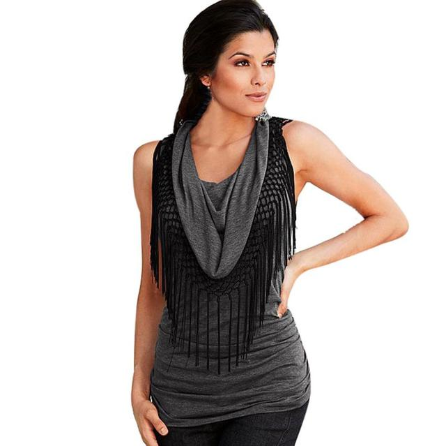 cf49f9053d Fashion Womens Summer Loose Top Sleeveless Tassel Blouse Casual Gray Tops  tracksuit for women345 #LWN-in Blouses & Shirts from Women's Clothing & ...