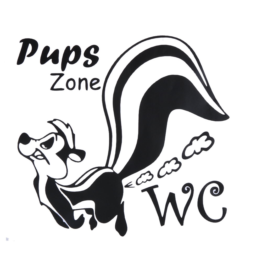 Pups zone cartoon wall stickers removable diy door wall for Poster porte wc