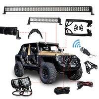 1 set Offroad 300W 52 Inch LED Light Bar 20 inch Hood LED Bar 4 inch Work Light Wiring Mount Bracket for Jeep Wrangler JK 07 15