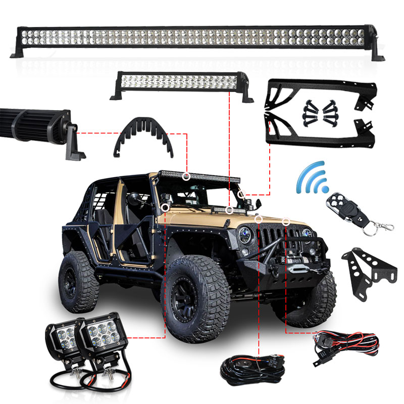 1 set Offroad 300W 52 Inch LED Light Bar 20 inch Hood LED Bar 4 inch Work Light Wiring Mount Bracket for Jeep Wrangler JK 07 15
