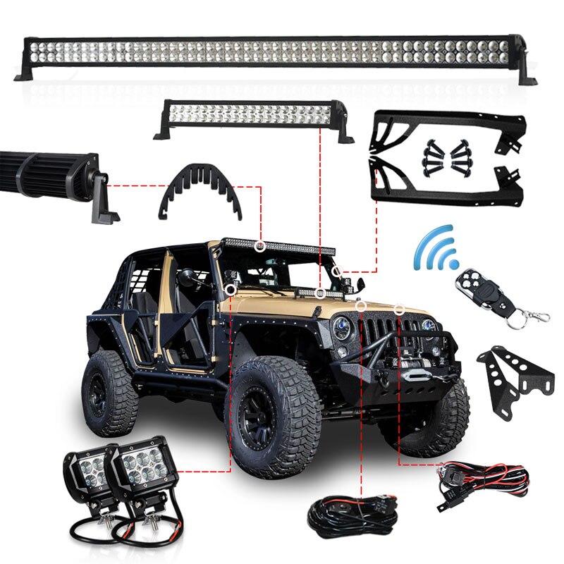 Conjunto polegada LEVOU Barra de Luz Offroad 300 W 52 1 20 polegada Capô LEVOU Bar 4 polegada Trabalho de Fiação de Luz suporte de montagem para Jeep Wrangler JK 07-15