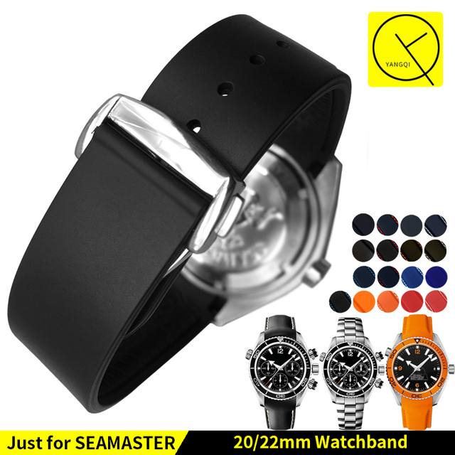 Diving Curved End Silicone Rubber Watch Straps Deployment Buckle for Omega Seama