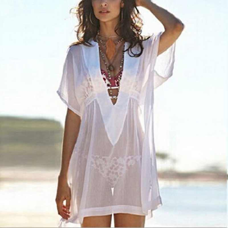 2019 White Beach Deep V Neck Tunic 2018 Women White Bikini Cover Up Swimsuit Beach Dress Transparent Sundresses Swim Blouses
