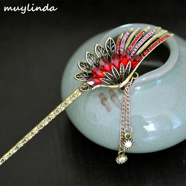 Ретро Шарм Металл перо Кристалл волос палочки Для женщин античная Банкетный ювелирные изделия волос заколки