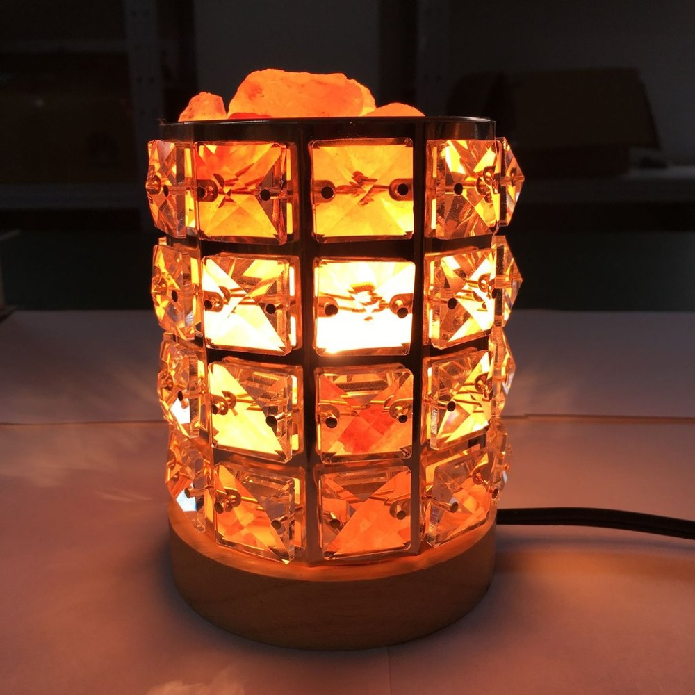 Healthy Himalayan Natural Crystal Salt Light Air Purifying Himalayan Salt Lamp Atmosphere Light with Wooden Base цена
