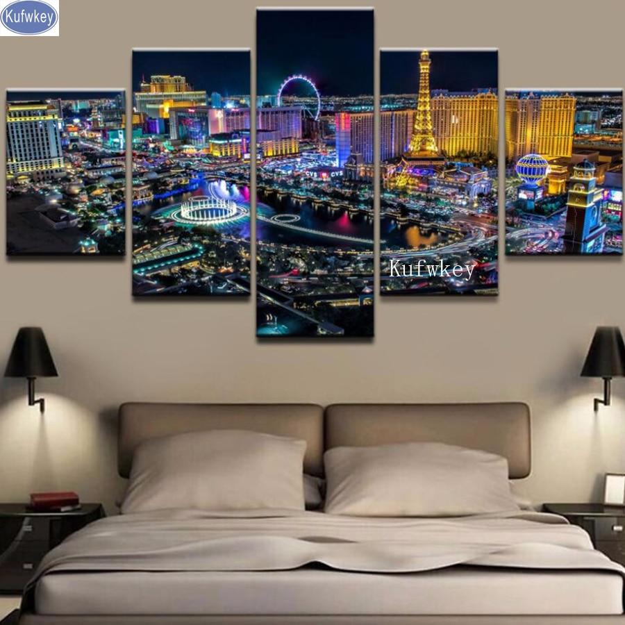 Sale Diamond Embroidery Las Vegas Night View 5d Diy