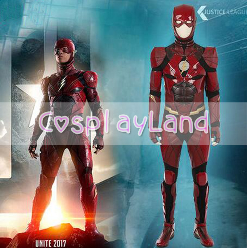 Justice League Flash Cosplay Kostuum Rood Lederen pak Superhero - Carnavalskostuums