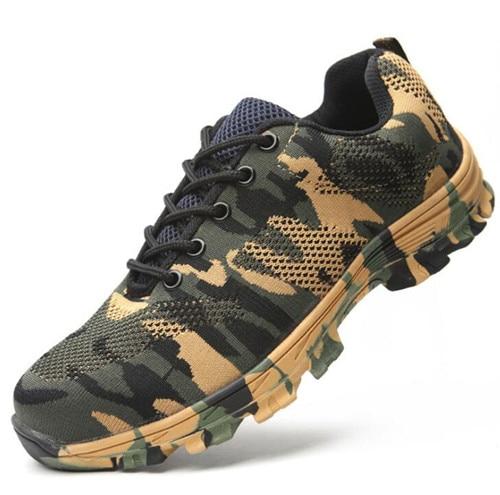 Строительные мужские уличные рабочие ботинки размера плюс со стальным носком; мужские камуфляжные ботинки с защитой от проколов; дышащая обувь - Цвет: green shoes