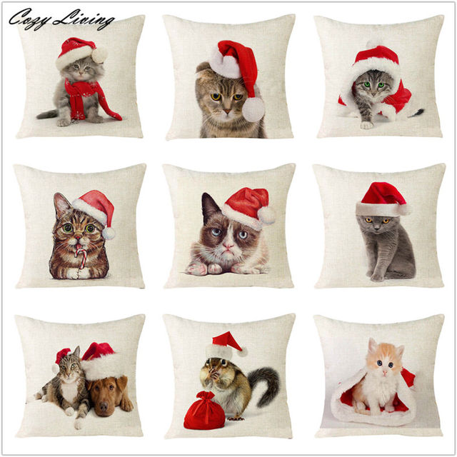 Pillow Cases 45*45CM Christmas Cat Series Pillow Case Xmas Gift Pillow Cover Cute Animal Print Linen Square Pillowcase D1