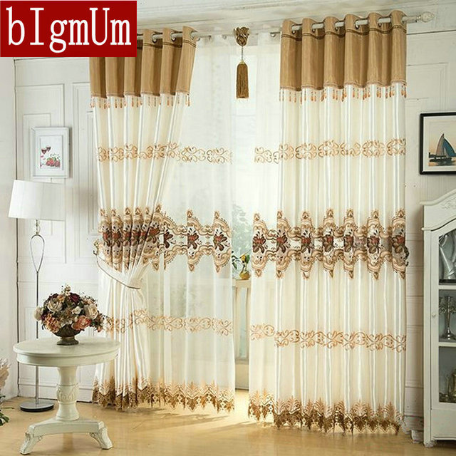 Luxus Fenster Vorhang Für Wohnzimmer/Schlafzimmer/Hotel Weiß/Braun/Golden /Lila