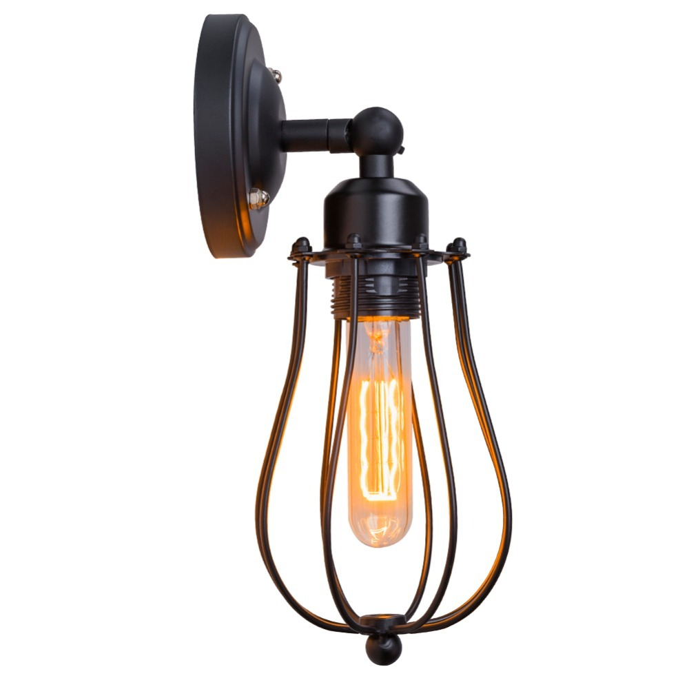 Bulb+Nordic Retro Wall Lamp Bedside Light Wrought Iron Lamps Shade American Country Style Restaurant Bar Industrial Pendant