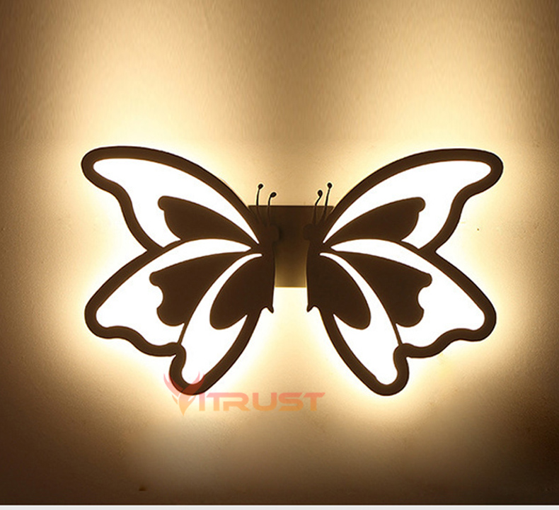 Creative Butterfly LED Wall Light Bathroom Bedroom LED Wall Lamp Kids Wall Light Corridor Aisle Sconce Wall Light 24W 90V-265V modern fashion creative k9 crystal wifi design led 9w wall lamp for living room bedroom aisle corridor bathroom 80 265v 2063