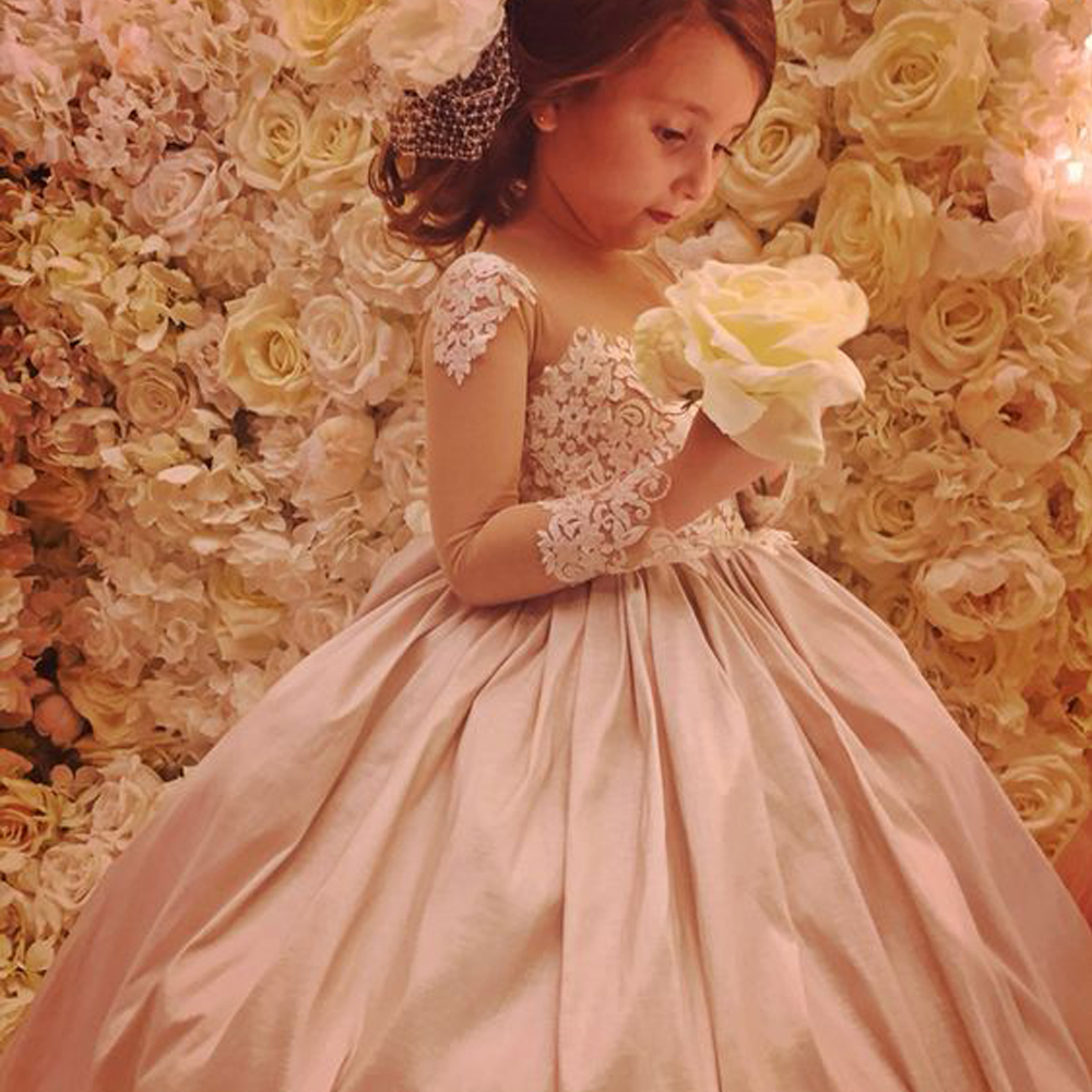 Ball Gown Flower Girl Dresses Pink Ruched Lace Princes Long Sleeves First Communion Dress Pageant Gowns Vestidos Longo pink lace up design cold shoulder long sleeves hoodie dress
