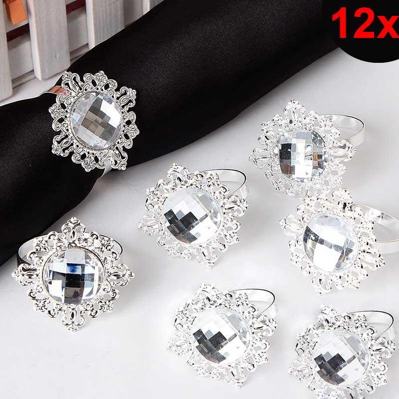 12pcs bling acrylic rhinestone napkin rings napkins holder wedding party banquet dinner. Black Bedroom Furniture Sets. Home Design Ideas