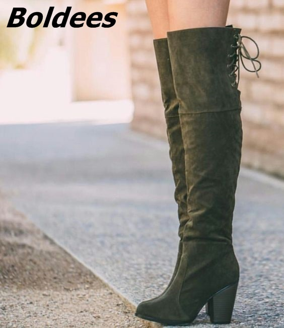 Suede Dark Army Green Block Heels Knee High Boots Concise Women Pretty Round Toe Back Lace Up Chunky Heeled Boots