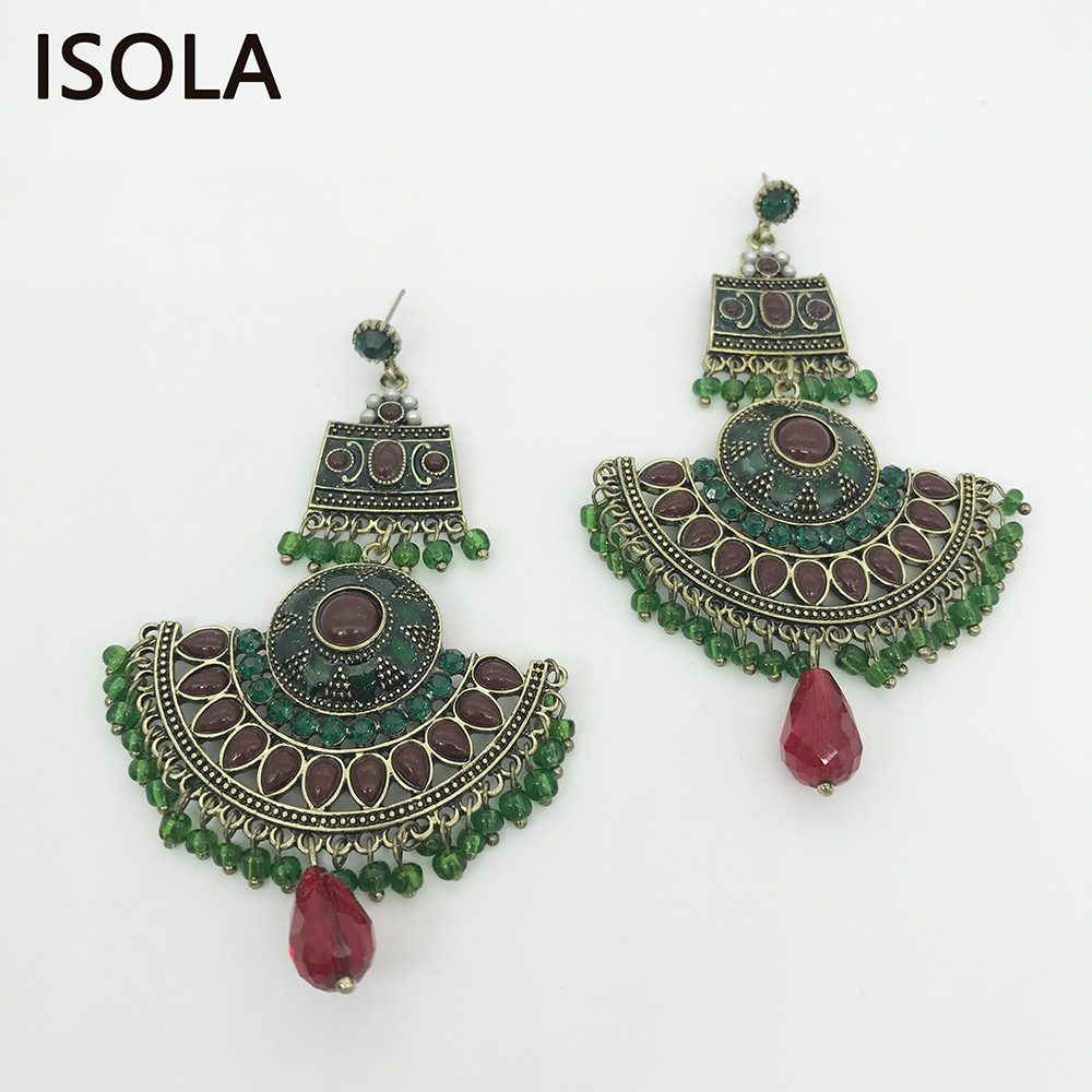 ISOLA Statement Large Chandelier Earrings Classic Bohemia Dangle Earrings Ethnic Charming Boho Earrings Jewelry For Woman statement rhinestone tassel dangle earrings