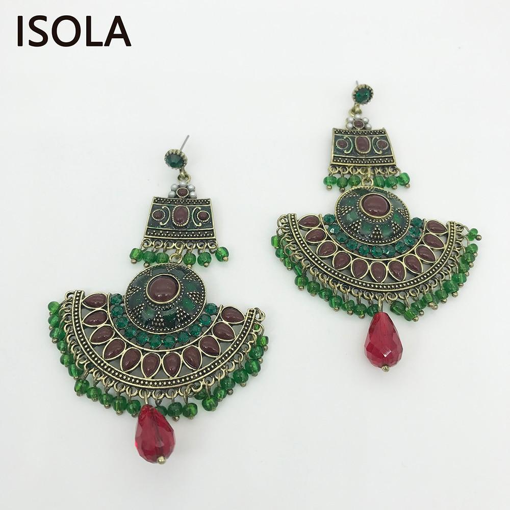 ISOLA Statement Large Chandelier Earrings Classic Bohemia Dangle Earrings Ethnic Charming Boho Earrings Jewelry For Woman colorful boho earrings