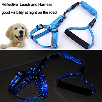 Outdoor Reflective Firm Pet Dog Harness Nylon Large Dog Leashes Pet Traction Rope Collar Set Safety Pet Harness Dogarnes 1