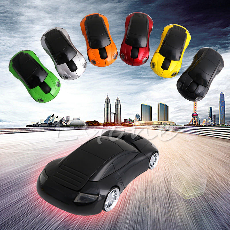 Fashion 2.4GHZ 1600DPI Wireless Mouse USB Receiver Light LED Super Porsche Car Shape Optical Mice Battery Powered(not included)